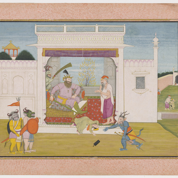 Illustration to Book 7 of the Bhagavata Purana, Chapter 5: Hiranyakashipu throws Prahlada off his lap after he again expresses devotion to Vishnu and orders his demons to kill him. The sage Shukracharya looks on as the king throws his son down from his th