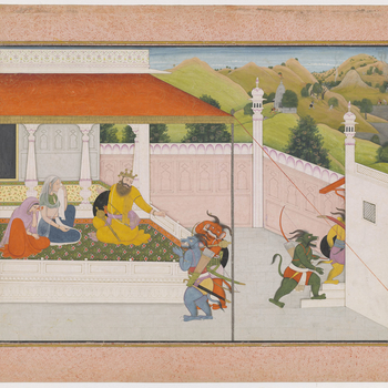 Illustration to Book 7 of the Bhagavata Purana, Chapter 2: Having sent his demons to terrorise the surrounding towns and villages, Hiranyakashipu tries to console his mother and sister-in-law as they lament his brother's death.  For this series see RCIN 9