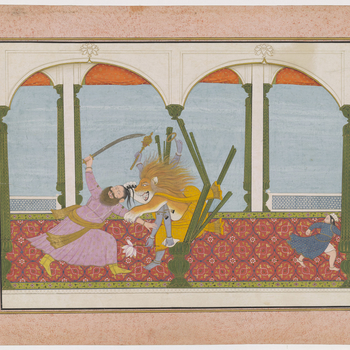 Illustration to Book 7 of the Bhagavata Purana, Chapter 8: Vishnu in his Narasimha incarnation bursts out of the wooden pillar and attacks Hiranyakashipu. At the centre of the painting the half-man half-lion grabs the king of the demons by the arm and the