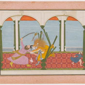 Illustration to Book 7 of the <em>Bhagavata Purana</em>, Chapter 8: Vishnu in his Narasimha incarnation bursts out of the wooden pillar and attacks Hiranyakashipu. At the centre of the painting the half-man half-lion grabs the king of the demons by the ar