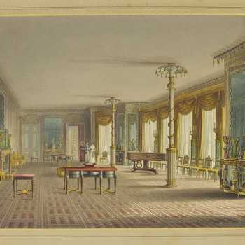 A hand coloured print depicting a view of the music gallery in the Royal Pavilion, Brighton. For an earlier state see RCIN 708000.aj. Plate 17 of the reissue of Nash's original publication of illustrations of the exterior and inte