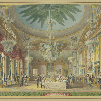 <p>A hand coloured print depicting a view of the banqueting room in the Royal Pavilion, Brighton. For an earlier state see RCIN 708000.ap. Plate 20 of the reissue of Nash's original publication of illustrations of the exterio