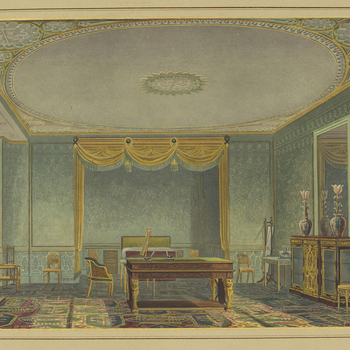 A hand coloured print depicting a view of the King's bedroom in the Royal Pavilion, Brighton. For an earlier state see RCIN 708000.ar. Plate 21 of the reissue of Nash's original publication of illustrations of the exteri