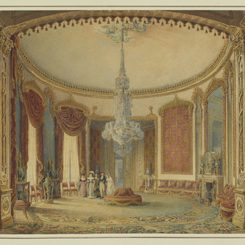 Faintly etched outline, heavily overpainted in watercolour. Shows detailed interior view of the Saloon of Brighton Pavilion, with five figures in the middle ground centre.