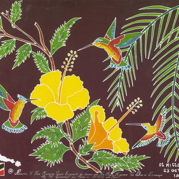 A cotton batik painting of three hummingbirds sucking nectar from hibiscus flowers with palm leaves and foliage with an outline of the islands and flag of St. Kitts and Nevis.   This painted batik celebrates the islands' flora and fauna, including h