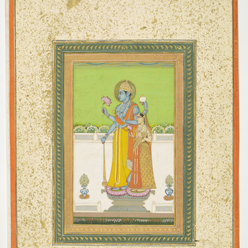 folio 26<br /><br />This painting depicts two <em>mūrtis </em>(i.e. representations of deities which serve as a focus for divine worship) of Vishnu and Lakshmi (Shri Devi) standing side-by-side on a pedestal on a garden terrace.