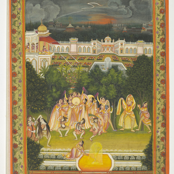 A princess on a balcony gazes out over a stormy night sky and conjures a vision of the Hindu god Krishna covered in pink and yellow dye as they revel in a forest grove. Reverie and reality overlap as the ladies in the palace peer down from the palace onto