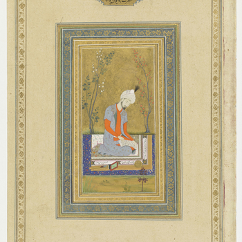 recto:  Portrait of Emperor Humayun, 1603    A portrait of the second Mughal emperor kneeling on a namda carpet reading a verse from the Bustan of Sa'di:      An inscription on the side of the carpet ascribes the painting to the little-known Mughal artis