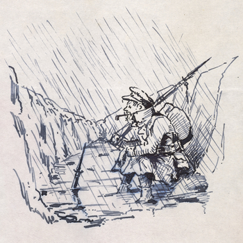 A drawing depicting a soldier seated in a trench during a storm. The soldier, captured in profile facing left, smokes a pipe. He wears a great coat and a cap. The trench is beginning to fill up with water owing to the heavy rains.
