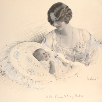 Photograph of Princess Astrid, Duchess of Brabant, later Queen Astrid of Belgium (1905-35) with her son Prince Baudouin, later King Baudouin of Belgium (1930-93). Princess Astrid faces the camera, her head turned three-quarters to the left. She gazes down