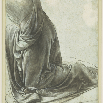 This drawing is a study for the drapery worn by the angel in Leonardo's painting of The Virgin of the Rocks, which is now in the National Gallery in London. Two different versions of this painting exist, and this study demonstrates that the pose of the an