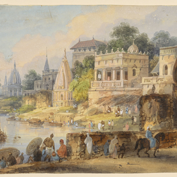 DM 1598: probably showing Benares.  Numerous figures in foreground, including man on horseback moving to right.  River on left, with boats.  Numerous buildings on far bank.