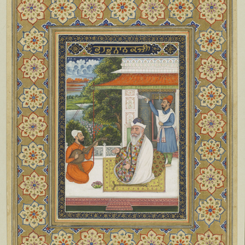 <p>Painting of Nanak, the first Sikh Guru, seated on a lakeside palace terrace. He sits on a floral carpet wearing a Kashmiri shawl over a dervish's patched garment with an ascetic's crutch laid beside him. He holds prayer beads in left hand w
