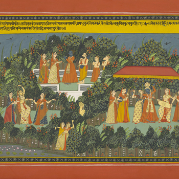 <p>Composed in the twelfth century, the poem <em>G</em><em>ī</em><em>ta Govinda </em>tells the story of Krishna, an incarnation of the Hindu God Vishnu, and his love for Radha, a <em>gopī</em> or 'cow herdess'. The illustrations in this manuscript were
