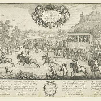 An etching of Charles II and his court viewing a horse race at Datchet Ferry from the royal box, protected by Yeomen of the Guard. In front of the box is a set of weighing scales to measure the weight of the jockeys. There is a view of the river and Winds