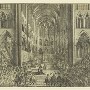 An etching of the interior of Westminster Abbey, including the tapestries which lined the walls, the display of plate on the altar, and the banks of spectators who filled the transepts. In the centre Charles II appears twice, at the moment of the cro