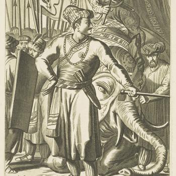 83. Schach Orangzef, Supremis Mogul.<br /><br /> Plate from <em>Principum et illustrium quorundam virorum, qui in Europa alibique terrarum, qua fama, qua eruditione celebres fuerunt, verae imagines, </em>published by Lugduni Batavorum c.1700.