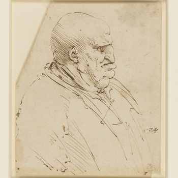 Recto: a drawing of the head and shoulders of a stout bald man. Verso: some infantile scribbles, perhaps representing legs.