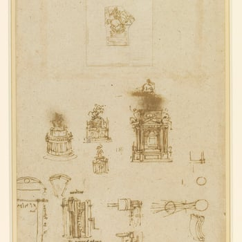 A series of drawings of views of an equestrian monument; with a ground plan of the columns of the monument; a diagram concerning optics; a diagram of cog-wheels and gears; a sketch of a mill, and some notes. The sketch of the monument on the upper part of