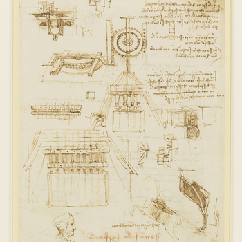 <p>On the recto of the sheet, drawings of ground plans and elevations of a bronze-casting apparatus, including designs of pulleys and cog-wheel mechanisms, with accompanying notes. On the verso, notes and diagrams of ground-plans of casting apparatus, and