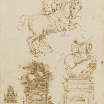Studies for the Trivulzio monument (RCIN 912355)