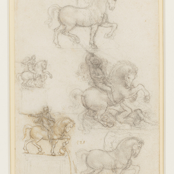 A sheet of five studies of a horse and rider, all full length, and viewed in profile to the right. In two of the studies the horse is rearing, and in three the horse is pacing. Melzi's number <em>121</em>.<br> <br>Late in life Leonardo planned a third equ