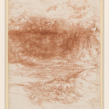 A drawing of a storm breaking over a valley in the foot-hills of the Alps. Above the depicted clouds are high peaks of the Alps in sunlight.  A number of landscapes in red chalk by Leonardo can be dated to his second period of residence in Milan, interm