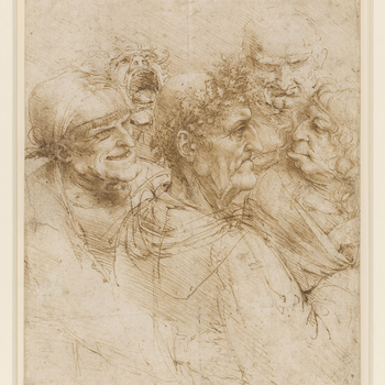 Recto: a drawing of a close group of five heads; a bald old man of the classical type, in profile to the right, crowned with a wreath of oak leaves; an elderly woman with a fringe and a huge chin, grinning; a creature with wavy hair; a demoniac yelling; a