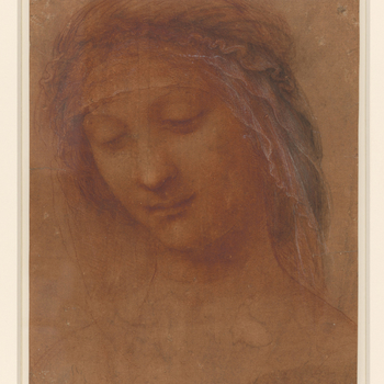 A study of the Madonna's head turned three quarters to left and bent slightly forward. She wears a veil bound around her head, which hangs forward neatly over her forehead.  Leonardo's hand is evident only in the intricate headdress, for the face was wo