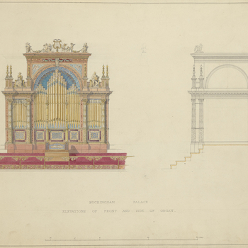 A design for the front and side of the organ at the east end of the Ball Roomin Buckingham Palace. This is one of a series of designs for the Ball Room and Supper Room by Sir James Pennethornein 1852,approved by Prince Albert(see a
