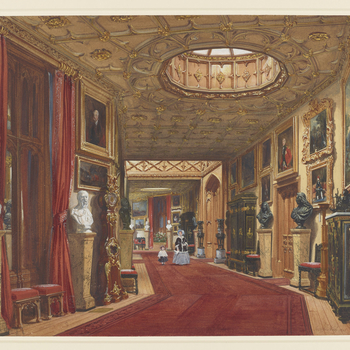 A watercolour showing a lady and a small girl approaching down the Grand Corridor at Windsor Castle, possibly intended to represent the Queen with Princess Alice.  The Grand Corridor, constructed by Jeffry Wyatville on the east and south sides of the Uppe