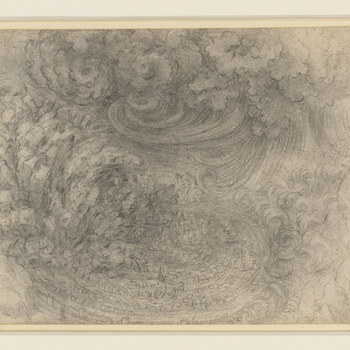A drawing of a town at the centre of a vortex, with rocks about to fall and crush it. There are waves and water-spouts encircling it. Above are dark clouds with great curves of water descending from them.