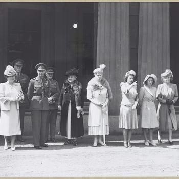 L-R:Queen Elizabeth, George VI, Queen Wilhelmina of Netherlands, Queen Mary, Princess Elizabeth, Princess Margaret, Princess Alice - Countess of Athlone during Dutch Queen's visit to England.