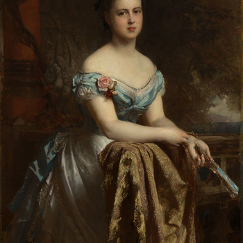 Portrait of Marie, Duchess of Edinburgh, three-quarter length, leaning on a shawl thrown over a balustrade. She is facing half to the right, looking at the spectator, holding a fan in her right hand; wearing a blue, low-cut dress. There is a red column on