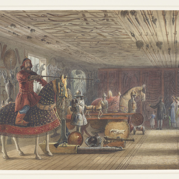 <p>A watercolour view of the armoury at Carlton House, with the figures of what are presumably visitors in the background.</p>