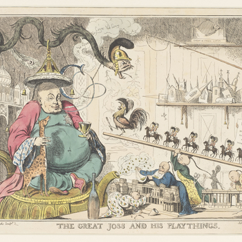 Hand-coloured etching of George IV as an obese man in Chinese dress, sitting atop a large tea-pot, smoking, and holding the neck of his pet giraffe.He sits smoking a pipe shaped as a 'C' for Conyngham, from which 'Oh 'tis love 'tis love 'tis love' em