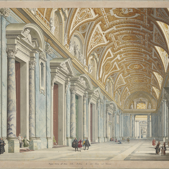 A hand-coloured etching showing a view of the interior of the portico of St Peter's Basilica, Vatican; with several groups of figures interspersed.