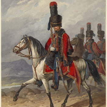 A watercolour of an officer of the Russian Imperial Guard, shown mounted,ridingto left, followed by three other figures. This is one of a large number of illustrations of military uniform acquired by George IV. Many of these drawings were by D