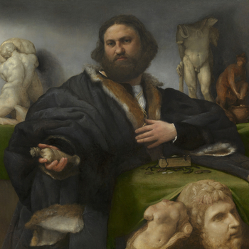 This portrait of the successful Venetian merchant Andrea Odoni (1488-1545) is one of the most innovative and dynamic portraits of the Italian Renaissance by Lorenzo Lotto, recently returned to Venice after thirteen years in Bergamo and anxious to impress