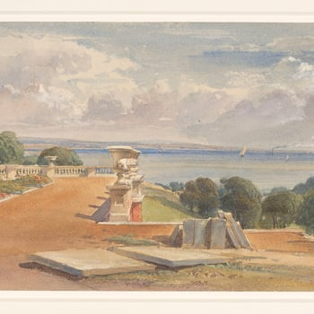A watercolour showing a distant view of the Solent, with slabs of building stone in the foreground. Inscribed 'Osborne' with an illegible date on the side of one of the stone slabs.  Osborne House on the Isle of Wight was built by Queen Vic