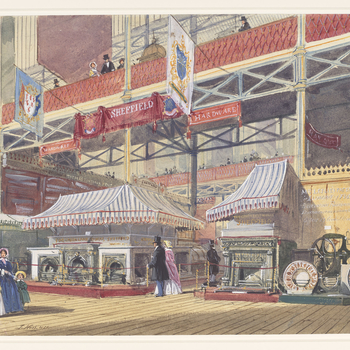 A watercolour depicting exhibits by local Sheffield manufacturers, especially in steel, such as grates and fenders. Signed and dated at bottom left: J. Nash 1851.       In his capacity as President of the Society of Arts, Pri