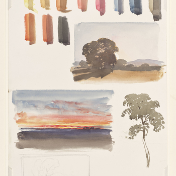 A watercolour showing studies of landscapes, trees and colour trials, possibly executed under the tutelage of WL Leitch. Colour trials are shown at the top of the sheet, with a flat landscape shown below to the right. A tree is shown to the left, with a p