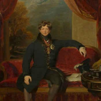 An early and fine copy (in reduced format) of Lawrence's portrait of 1822 in the Wallace Collection. A painting was delivered to George IV from Lawrence's studio on 28 January 1830 described as a 'small whole length of his Majesty', which might be