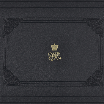 Cover of an album, with Victoria and Albert's monongram on the cover