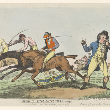 A hand-coloured print satirising the scandal involving the Prince of Wales's race horse 'Escape' which was involved with rigging racing odds. 'Escape' has both of its legs bound by the motto of the Order of the Garter as a reference to its losing a race o