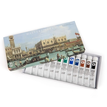 Tin of acrylic paints, with image of Canaletto's view of Venice on the cover