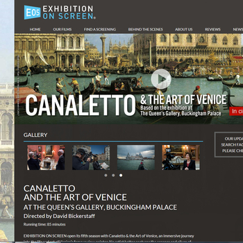 Screenshot of the page of website for the Exhibition on Screen showing of Canaletto