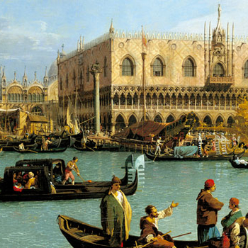 Details of gondola on a Venice canal