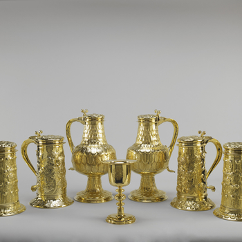 Ceremonial plate from the Crown Jewels, chalices and cups in gold plate
