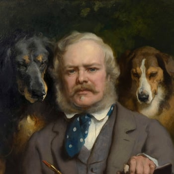 The Connoisseurs: Portrait of the Artist with two Dogs